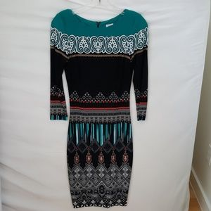 Cache polyester, spandex long sleeve dress